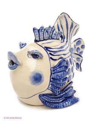 Заварочный чайник Рыба Blue Sky. Цвет: бежевый, голубой