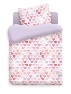 Комплект постельного белья в кроватку бязь Сердечки Непоседа. Цвет: фиолетовый, белый