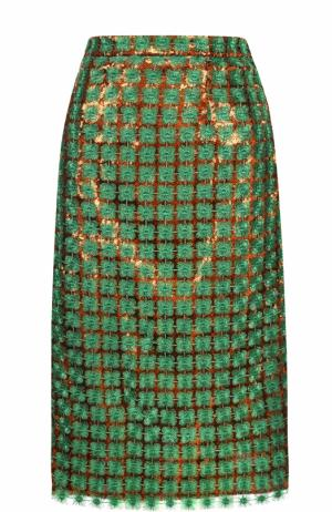 Юбка-миди с пайетками и вышивкой Marco de Vincenzo. Цвет: зеленый