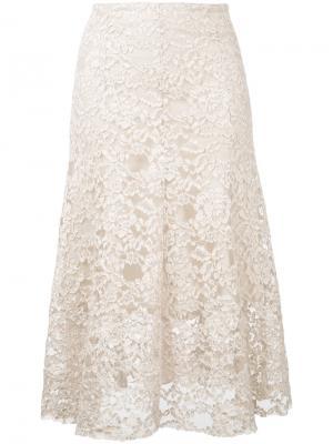 Кружевная юбка миди Cityshop. Цвет: телесный