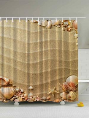 Фотоштора для ванной Зелёные пальмы, ракушки на песке, бежевые стены и красные цветы, 180*200 см Magic Lady. Цвет: бежевый, красный, розовый, кремовый, желтый, черный, коричневый