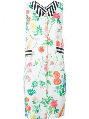 Платье-рубашка с цветочным принтом Arthur Arbesser. Цвет: белый