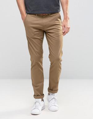 Selected Homme Узкие стретчевые брюки чинос с ремнем. Цвет: бежевый