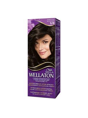 Крем-краска для волос интенсивная 3/0 Темный шатен WELLATON. Цвет: фиолетовый