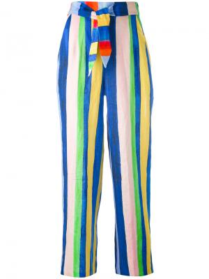 Полосатые брюки с завышенной талией Mara Hoffman. Цвет: синий