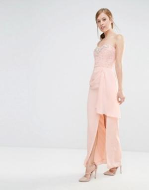 Elise Ryan Платье-бандо макси с кружевным лифом и отделкой. Цвет: розовый