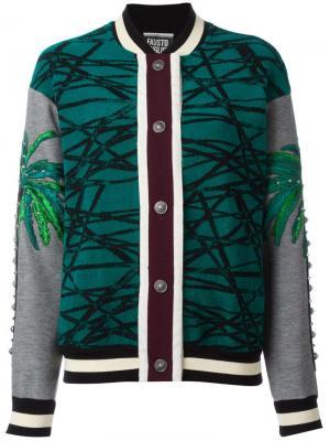 Куртка-бомбер со смешанным принтом Fausto Puglisi. Цвет: зелёный