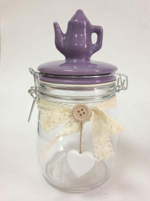Стеклянная ёмкость для продуктов Фиолетовый кофейник Magic Home. Цвет: белый