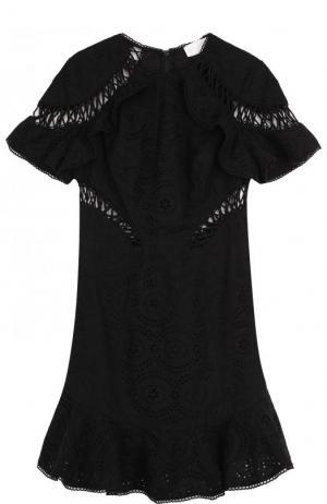 Хлопковое кружевное мини-платье Zimmermann. Цвет: черный