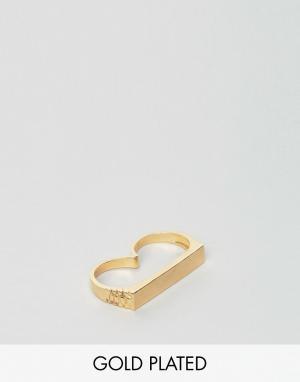 Love Bullets Двойное кольцо с минималистским дизайном Lovebullets. Цвет: золотой