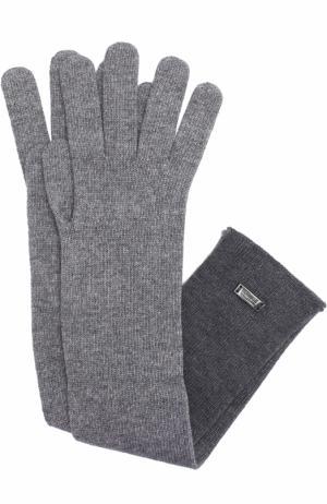 Удлиненные перчатки из шерсти и вискозы Armani Collezioni. Цвет: темно-серый