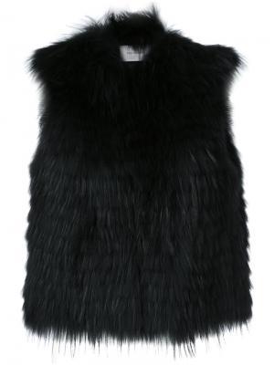 Cropped sleeveless jacket Yves Salomon. Цвет: чёрный