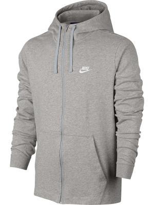 Толстовка M NSW HOODIE FZ JSY CLUB Nike. Цвет: серый, белый