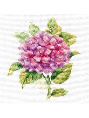 Набор для вышивания Гортензия 12х12 см Алиса. Цвет: зеленый, розовый, фиолетовый