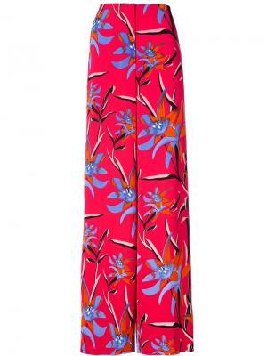 Широкие брюки с цветочным рисунком Dvf Diane Von Furstenberg. Цвет: красный
