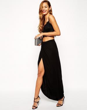 ASOS Трикотажная юбка-макси с запахом. Цвет: черный