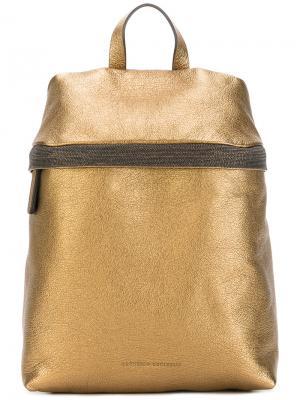 Рюкзак с отделкой металлик Brunello Cucinelli. Цвет: металлический
