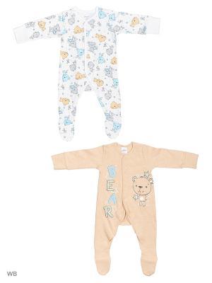 Комбинезон нательный для малыша PlayToday. Цвет: бежевый, белый, серый, голубой