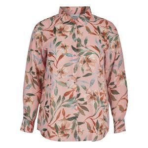 Блузка с воротником-поло рисунком и рукавами 3/4 ZIZZI. Цвет: рисунок/фон телесный
