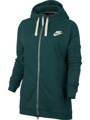 Толстовка W NSW GYM CLC HOODIE FZ Nike. Цвет: зеленый