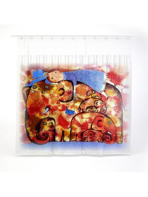 Штора в ванну Анна Силивончик -Семь слоников на счачтье- Фабрика ДемьяновЪ. Цвет: белый