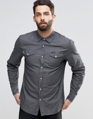 Religion Джинсовая рубашка на кнопках. Цвет: серый