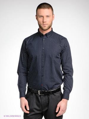 Рубашка MERC. Цвет: темно-синий, белый