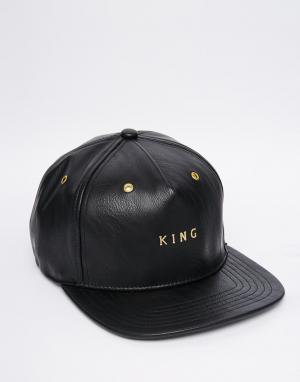 King Apparel Бейсболка из искусственной кожи. Цвет: черный