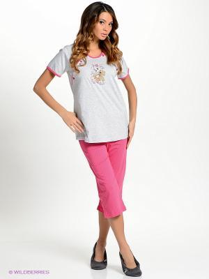 Домашний костюм Vienetta Secret. Цвет: розовый, серый меланж