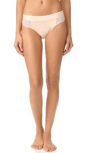 Трусики-шорты с низкой талией из сетчатой ткани Wildfox. Цвет: персиковый