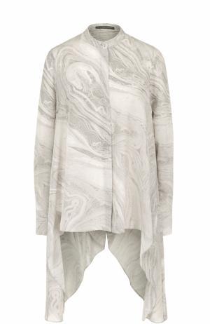 Шелковая блуза асимметричного кроя с принтом Alexander McQueen. Цвет: серый