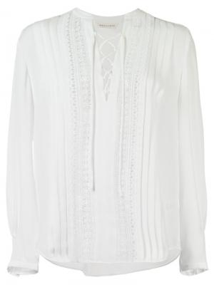 Блузка на шнуровке Rebecca Taylor. Цвет: белый