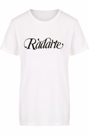 Футболка с круглым вырезом и надписью Rodarte. Цвет: белый