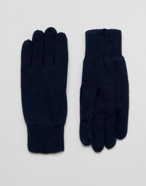 Selected Homme Темно-синие перчатки Leth. Цвет: темно-синий