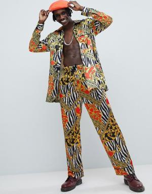 Jaded London Пижамные брюки с принтом. Цвет: черный