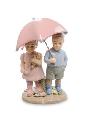 Статуэтка Мальчик И Девочка  Pavone. Цвет: белый