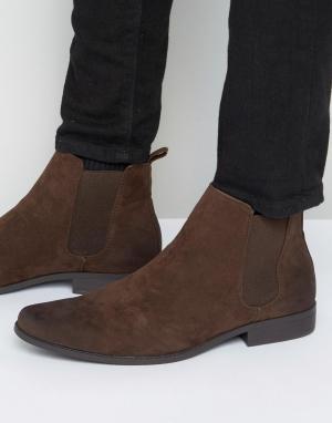 ASOS Ботинки челси из коричневой искусственной кожи. Цвет: коричневый