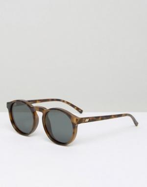 Le Specs Круглые солнцезащитные очки в черепаховой оправе с поляризованными лин. Цвет: коричневый