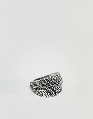 DesignB London Черное кольцо с узором DesingB. Цвет: черный