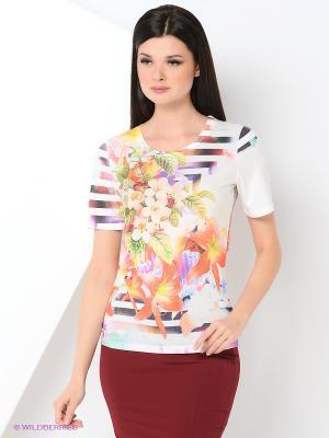 Футболка Taya jeans. Цвет: белый, сиреневый, бежевый, оранжевый