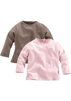 Кофточка с длинными рукавами, 2 штуки KLITZEKLEIN. Цвет: розовый/коричневый