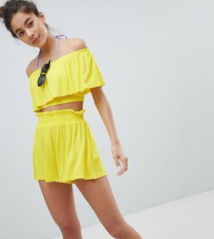 Monki Пляжные шорты с завышенной талией. Цвет: желтый