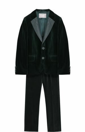 Бархатный костюм с пиджаком на двух пуговицах Il Gufo. Цвет: зеленый