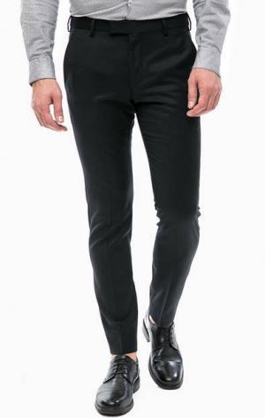 Зауженные брюки из шерсти Strellson. Цвет: черный