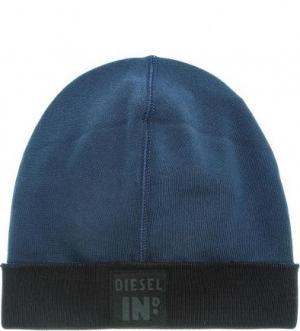 Синяя хлопковая шапка Diesel. Цвет: синий