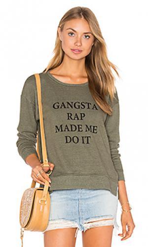 Пуловер jolie gangsta rap made me TYLER JACOBS. Цвет: оливковый