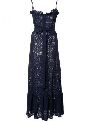 Длинное кружевное платье Lisa Marie Fernandez. Цвет: синий