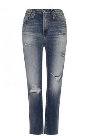 Укороченные джинсы прямого кроя с потертостями Ag. Цвет: синий