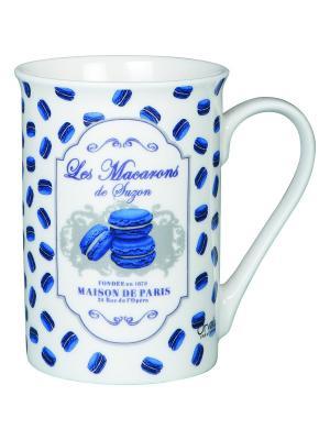Чайная кружка керамическая 7,5,выс.10 см, 270 мл Миндальное печенье Сюзанны. Orval. Цвет: белый, синий