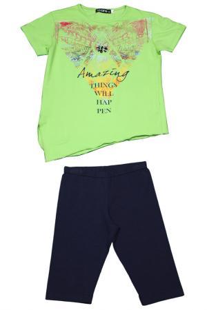 Комплект: футболка, шорты I-CARE. Цвет: зеленый, синий
